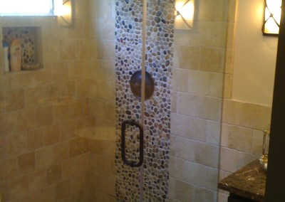 Travertine & Pebble Tiles Bathroom Remodel Studio City