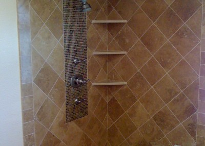 Mosaic Tile & Corner Shelving Bathroom – Porter Ranch