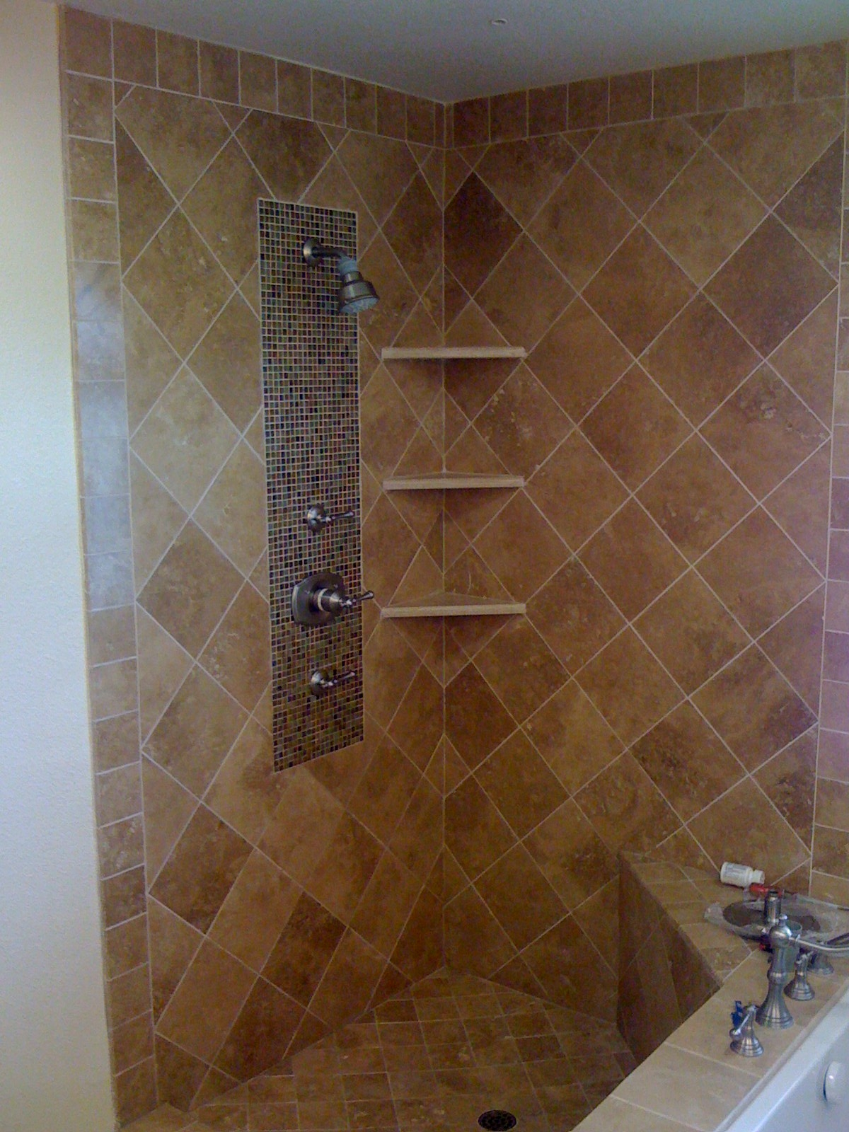 Mosaic Tile Amp Corner Shelving Bathroom Porter Ranch