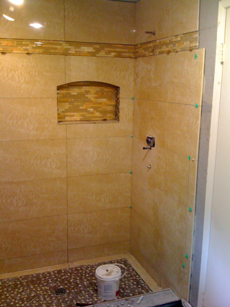 Recessed shelving bathroom brentwood eden builders How to tile a shower