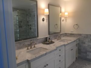 mosiac marble tile and vanity with mirror
