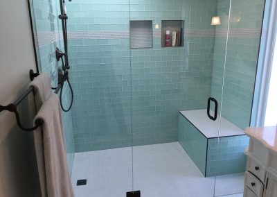 Beau Side By Side Vanities U0026 Glass Tile Bathroom Remodel ...