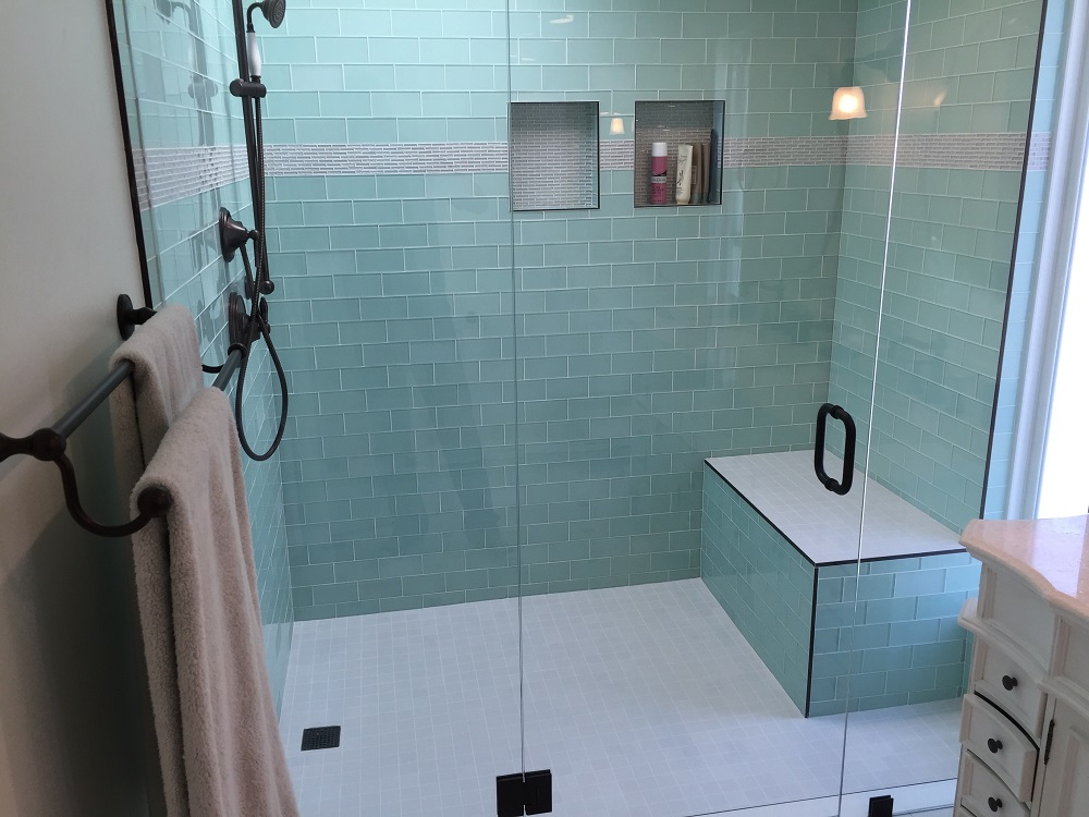 Bathroom Remodel Glass Tile side-by-side vanities & glass tile bathroom remodel - los feliz