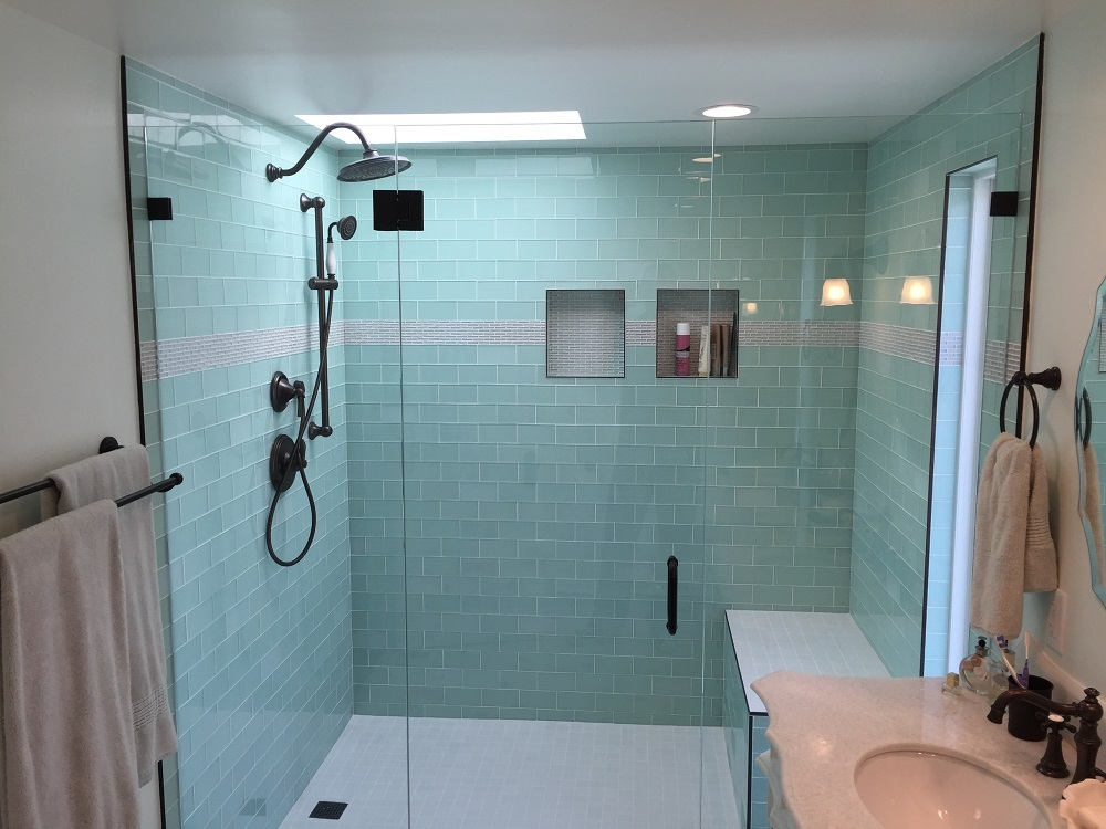 Side-by-Side Vanities & Glass Tile Bathroom Remodel - Los Feliz ...