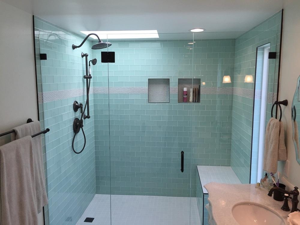 Side By Side Vanities Amp Glass Tile Bathroom Remodel Los
