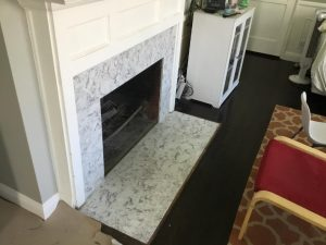 tile surround on fire place
