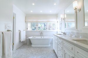 gorgeous bathroom with free standing tub