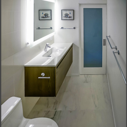 santa-monica-condo-bathroom-floating-sink-glass-door-marble-floor