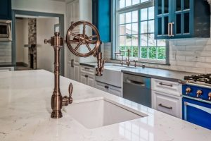 Studio City Kitchen Remodel with food pantry barn doors, hidden washer and dryer and eat-in area