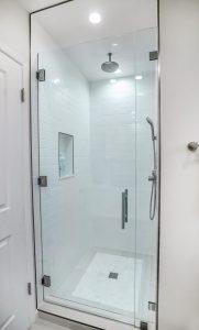glass door walk in shower