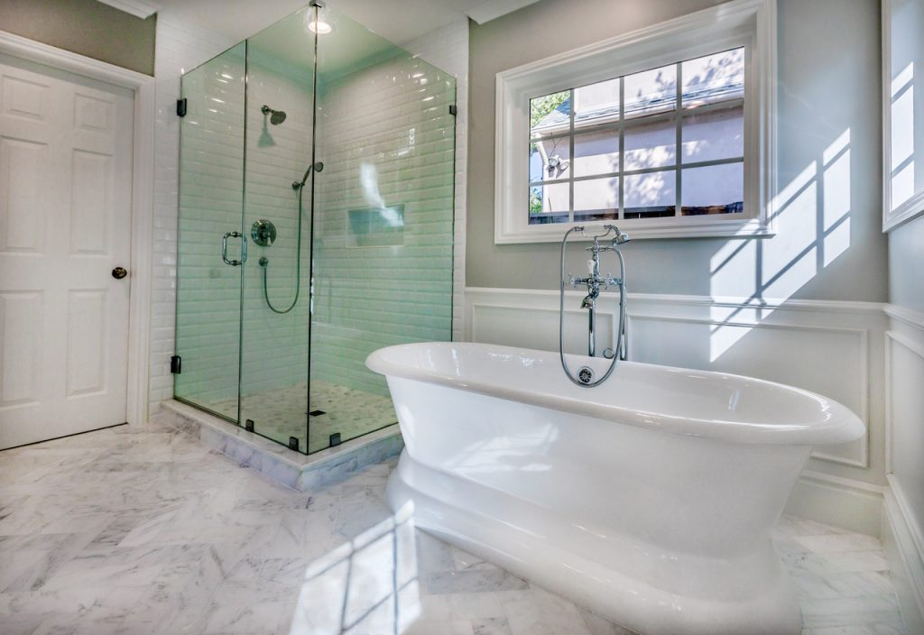 marble floor bathroom remodel