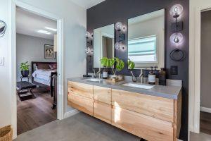 Master suite bathroom remodel in Los Angeles. Floating modern vanity with double sinks