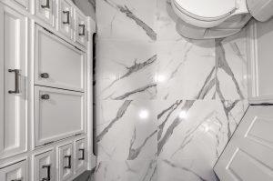 White marble floor in bathroom
