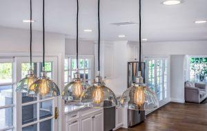 set of 6 pendant kitchen lights iwth edison bulbs