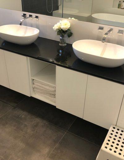 custom built vanity with lots of storage