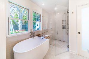 Walk in glass door shower