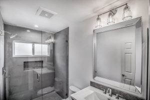 tub converted to shower in bathroom upgrade