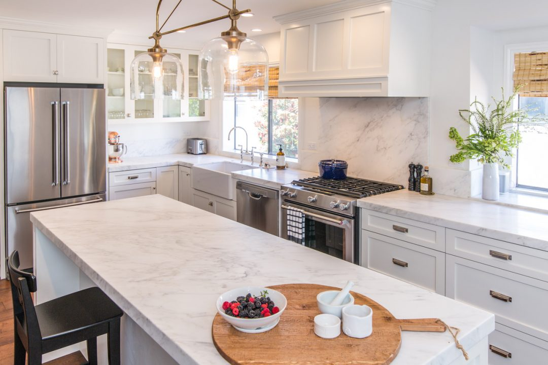 White Kitchen w/ Carrera Marble Pacific Palisades Remodel