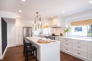 white carrera marble drop side counter tops and backsplash