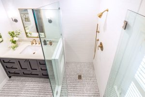 glass shower door that opens out