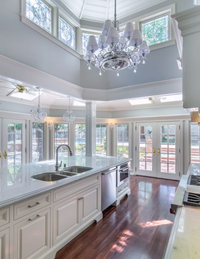 Westlake village glamorous and huge kitchen with chandeliers