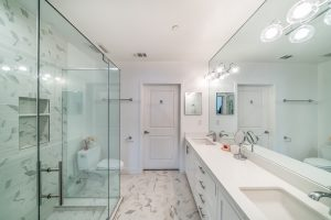 Master bathroom remodel in Marina del Rey - marble floor and tiling and counter tops