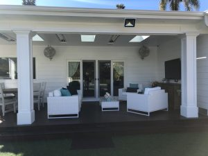 West Hills, California newly built covered patio with ceiling fans, heaters, tv and more