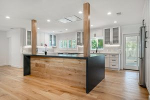 kitchen island in open concept home in West Hollywood