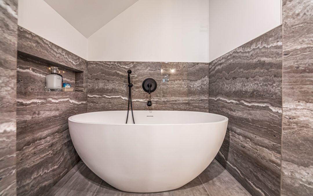 Woodland Hills free standing tub in modern bathroom remodel