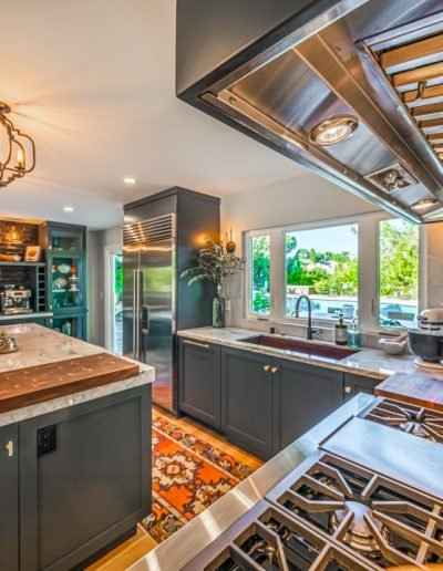 grey kitchen with high end appliances