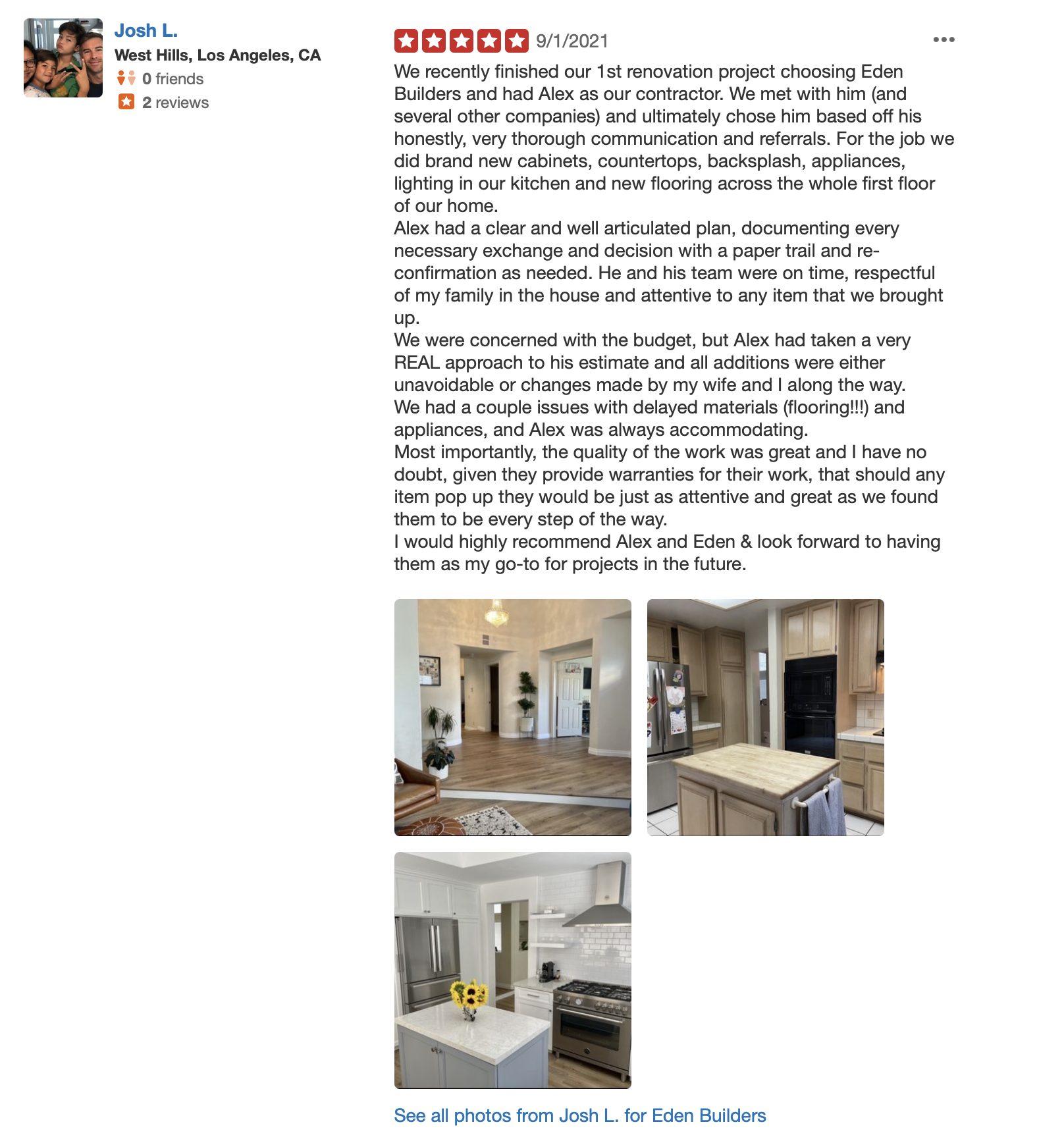 Yelp review of Eden builders kitchen remodeler